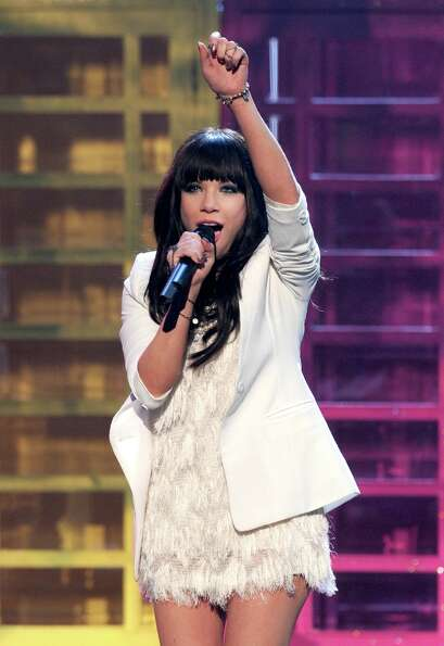 Singer Carly Rae Jepsen performs onstage during the 40th American Music Awards held at Nokia Theatre