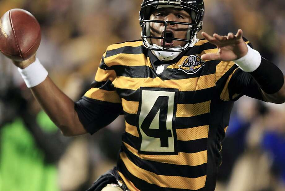 Pittsburgh Steelers quarterback Byron Leftwich (4) celebrates a touchdown in the first quarter of an NFL football game against the Baltimore Ravens, Sunday, Nov. 18, 2012, in Pittsburgh. (AP Photo/Gene J. Puskar) Photo: Gene J. Puskar, Associated Press