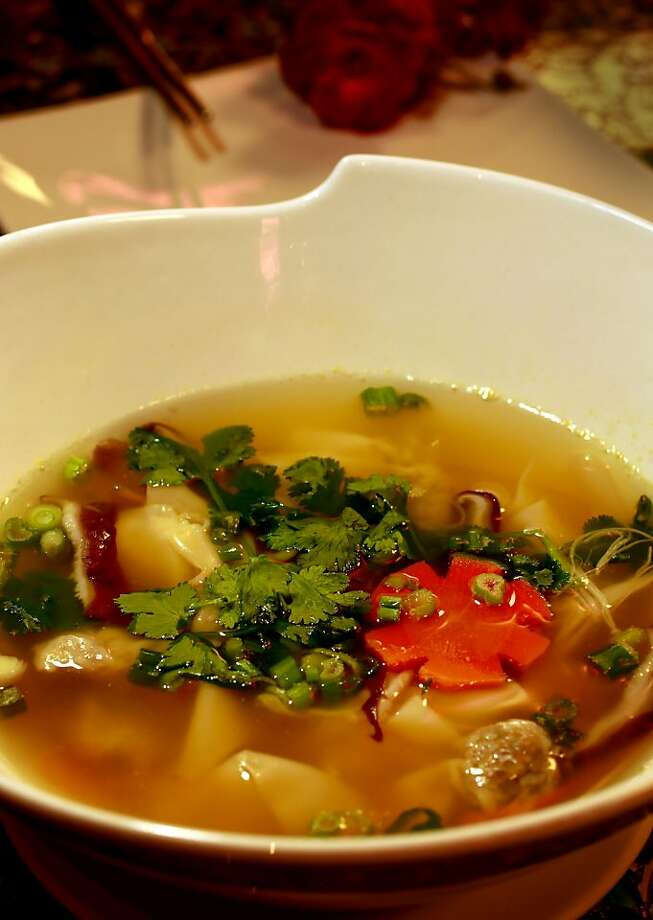 Lin Jia's seasonally-changing soup mixes dumplings, mushrooms, carrots and other vegetables. Photo: Michael Macor, The Chronicle
