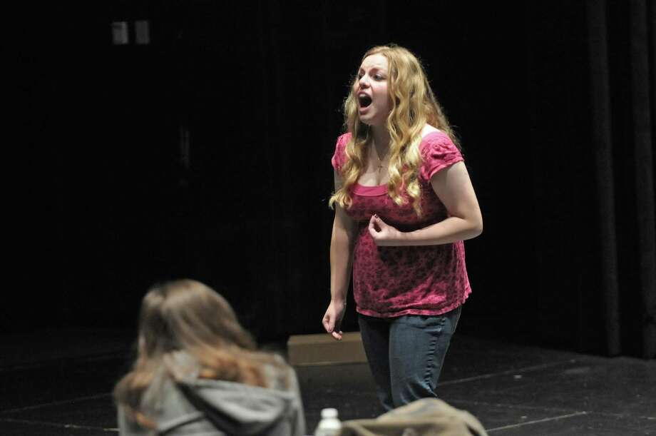 Student Rebecca Leville delivers her monologue during an advanced acting workshop through the School of the Performing Arts at Proctors on Sunday, Nov. 18, 2012 in Schenectady, NY.   Actress Zarah Mahler, on left in photo, who plays Nessarose in Wicked worked with the students who delivered monologues.    (Paul Buckowski / Times Union) Photo: Paul Buckowski