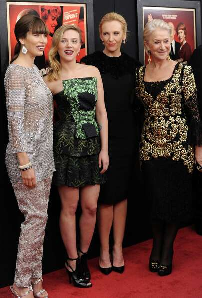 Actresses Jessica Biel, from left, Scarlett Johansson, Toni Collette and Helen Mirren attend the pre