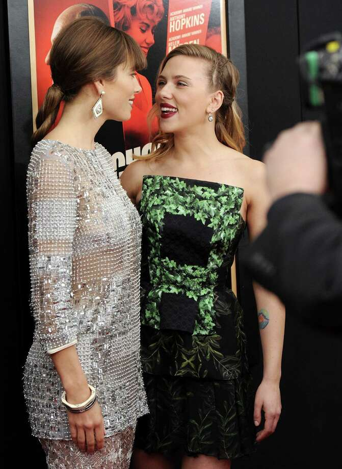 "Actresses Jessica Biel, left, and Scarlett Johansson attend the premiere for ""Hitchcock"" at the Ziegfeld Theatre on Sunday Nov. 18, 2012 in New York. Photo: Evan Agostini, Evan Agostini/Invision/AP / Invision"