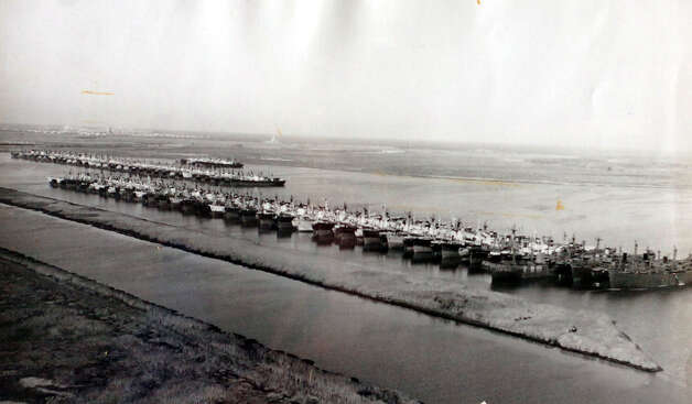 The Maritime Reserve Fleet on the Neches River, part of the Sabine-Neches Waterway, in 1948. photo provided by the Tyrrell Historical Library / Beaumont