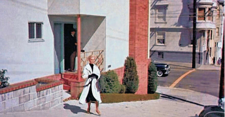 900 LOMBARD STREET  In Alfred Hitchcock's classic 'Vertigo,' this home a block below the crooked street was the address of James Stewart's apartment. And it has been a regular stop for visiting cinephiles ever since. In recent years, it garnered controversy when the home's owners altered its appearance.   Photo: Paramount Pictures 1958