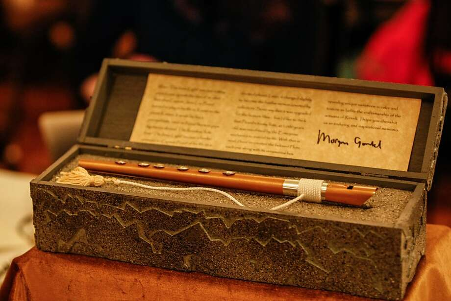 "Replicas of the infamous brass Ressikan flute from the episode ""The Inner Light"" was made available for fans to purchase during the Official Star Trek Convention in San Francisco at the Westin St. Francis. Photo: Rashad Sisemore, The Chronicle"