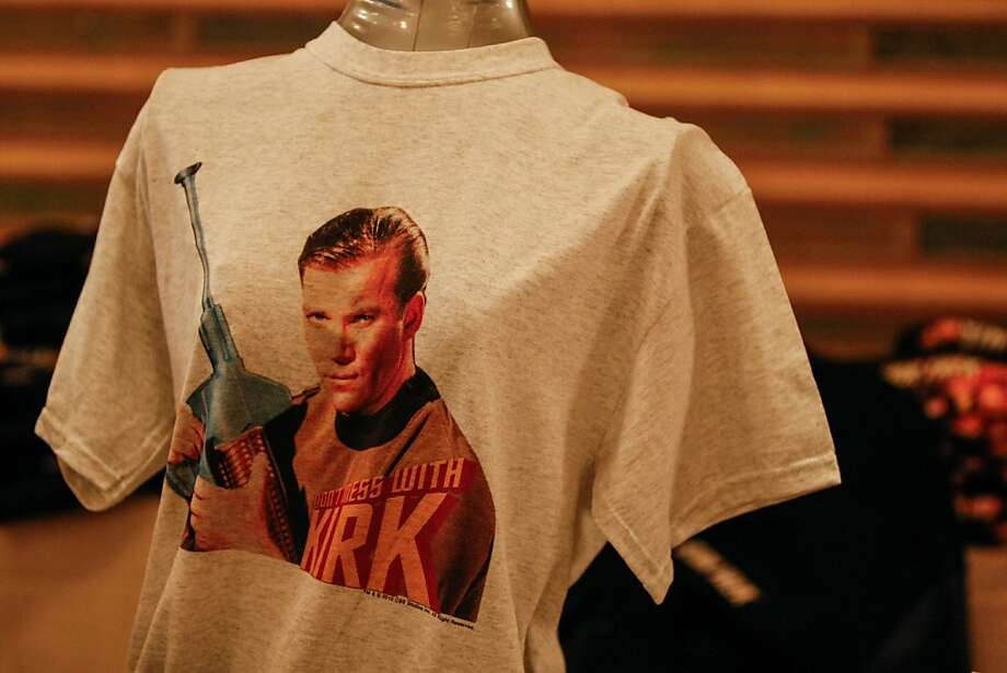 """Don't Mess With Kirk."" Vendors inside the Colonial Ballroom offered memorabilia from the Star Trek series including t-shirts during the Official Star Trek Convention in San Francisco at the Westin St. Francis. Photo: Rashad Sisemore, The Chronicle"