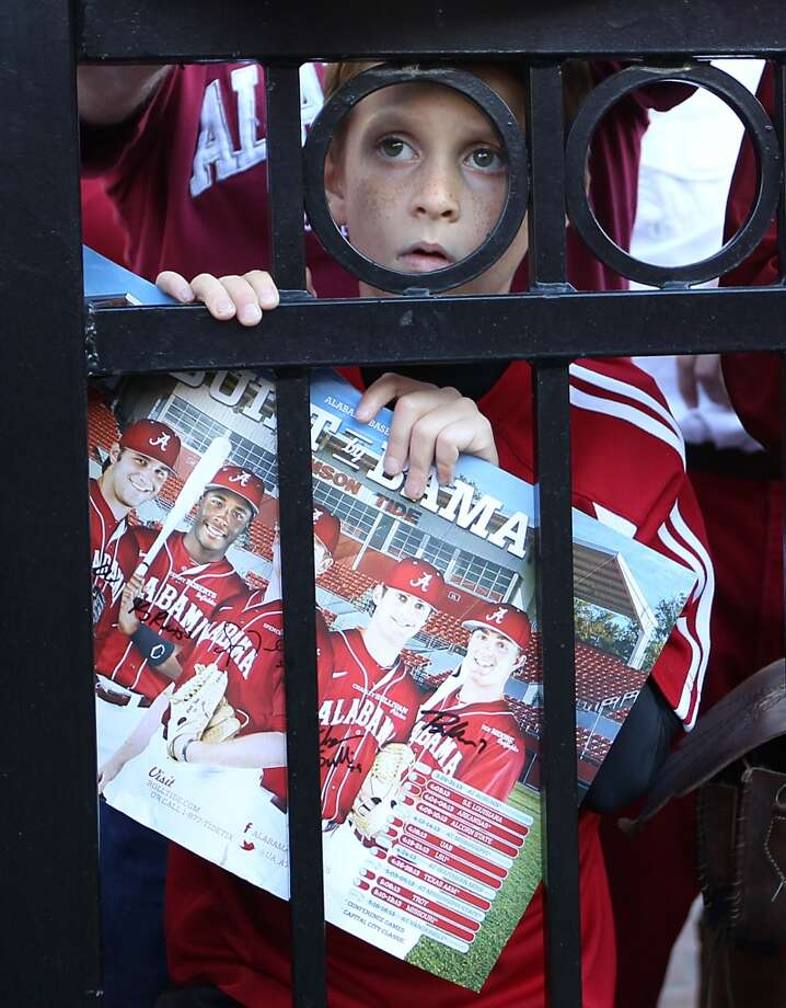An Alabama fan peeks through the fence during the first quarter of a college football game at Bryant-Denny Stadium, Saturday, Nov. 10, 2012, in Tuscaloosa.  ( Karen Warren / Houston Chronicle ) (Houston Chronicle)