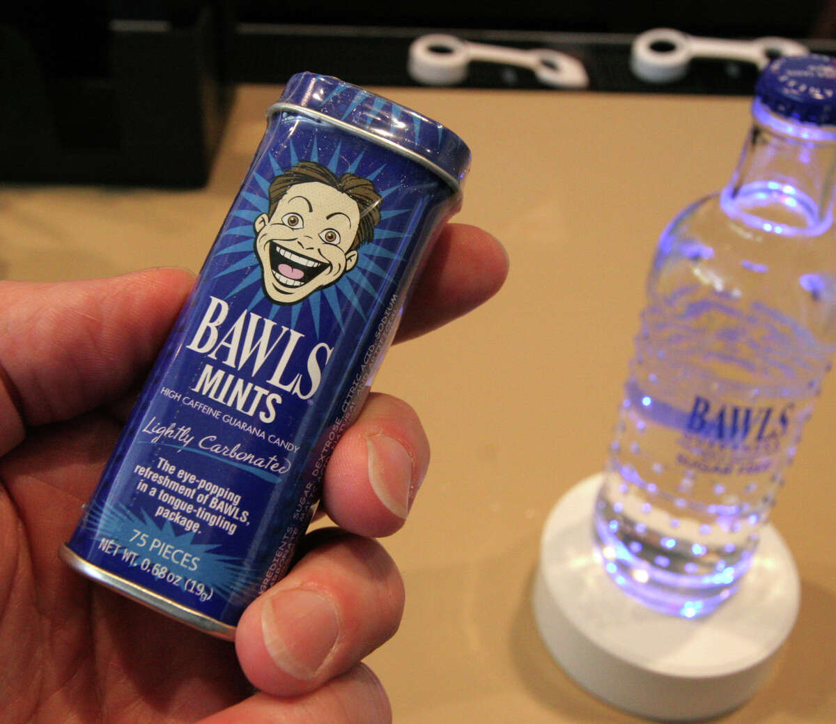 Bawls mints come in a tin of 75 and contain 1 mg of caffeine and guarana per mint. Available at thinkgeek.com.