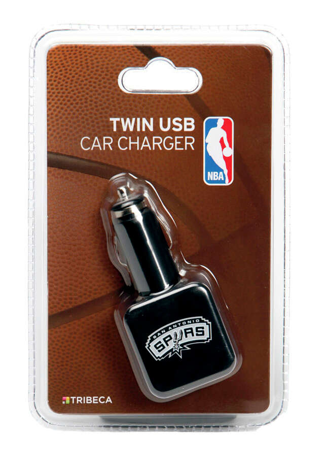 Tech Gifts -Spurs Twin USB Car Charger: Need a doodad for a stocking stuffer? Try the Spurs USB charger by Tribeca. It powers two devices at once. Perfect for Silver and Black fans who need to fuel up the GPS and smartphone while driving to the game or just on the fast lane. $149.99 at Best Buy. Photo: William Luther, Express-News / © 2012 San Antonio Express-News