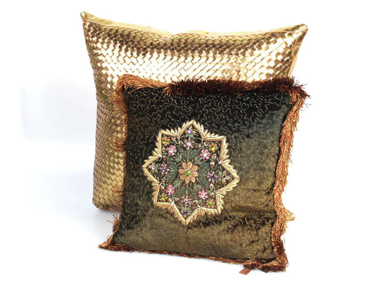 Luxury Gifts - Pillow Talk. Front:  embellished star design velvet and silk fringed pillow by