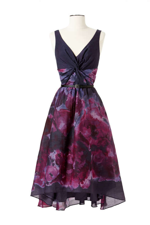 Party Fashion- Lela Rose inky floral print belted dress, $99.99, Neiman Marcus and Target stories. Photo: Express-News