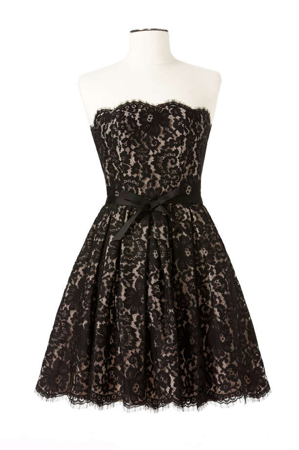 Party Fashion- Robert Rodriquez strapless lace dress accented with a bow-tied ribbon belt, $99.99, Neiman Marcus and Target stories. Photo: Express-News