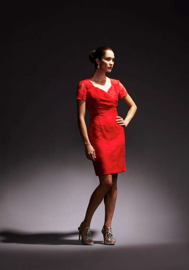 Party Fashion - Bold red lace cocktail dress from Tahari, $149, Dillards. Photo: Express-News
