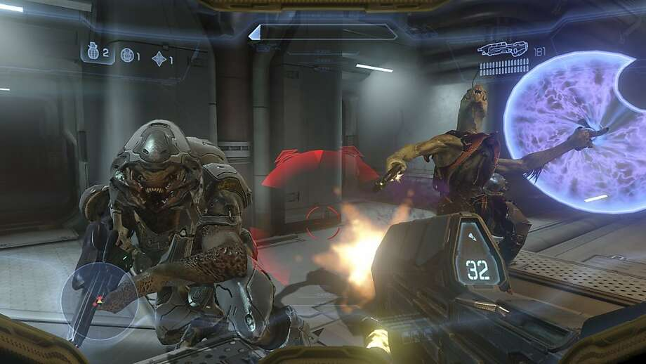 "In an undated handout image, a scene from the video game ""Halo 4."" A superior video game, like the new ""Halo 4"" or ""Call of Duty: Black Ops II,"" is more like chess with firepower than violent mayhem. (Activision via The New York Times) -- NO SALES; FOR EDITORIAL USE ONLY WITH STORY SLUGGED VIDEO GAMES SHOOTING BY STEPHEN TOTILO. ALL OTHER USE PROHIBITED. -- Photo: Microsoft, New York Times"