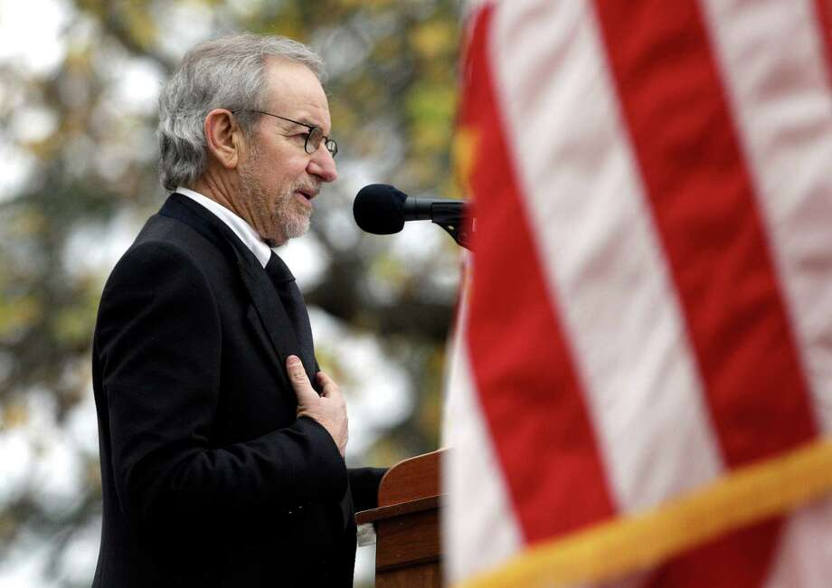 Director Steven Spielberg speaks at a ceremony to mark the 149th anniversary of President Abraham Lincoln's delivery of the Gettysburg Address at Soldier's National Cemetery in Gettysburg, Pa., Monday, Nov. 19, 2012. Spielberg and historian Doris Kearns Goodwin delivered remarks and participated in a wreath-laying ceremony. (AP Photo/Patrick Semansky) Photo: Patrick Semansky