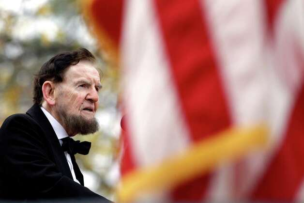 Jim Getty, portraying President Abraham Lincoln, delivers his rendition of the Gettysburg Address during a ceremony to mark the 149th anniversary of Lincoln's speech at Soldier's National Cemetery in Gettysburg, Pa., Monday, Nov. 19, 2012. Director Steven Spielberg and historian Doris Kearns Goodwin were also on hand to deliver remarks and participate in a wreath-laying ceremony. (AP Photo/Patrick Semansky) Photo: Patrick Semansky