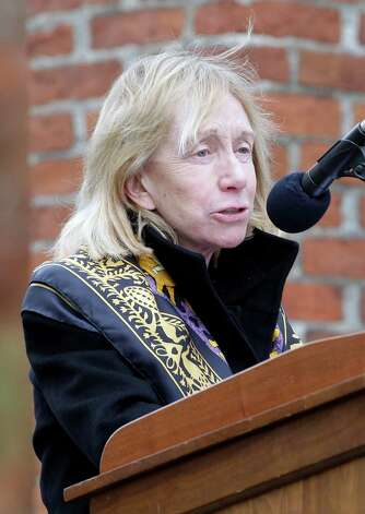 Historian Doris Kearns Goodwin speaks at a ceremony to mark the 149th anniversary of President Abraham Lincoln's delivery of the Gettysburg Address at Soldier's National Cemetery in Gettysburg, Pa., Monday, Nov. 19, 2012. Goodwin and director Steven Spielberg delivered remarks and participated in a wreath-laying ceremony. (AP Photo/Patrick Semansky) Photo: Patrick Semansky