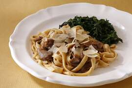 Lamb with Pasta & Swiss Chard as seen in San Francisco, California, on Wednesday, November 14, 2012.  Food styled by Katie Fleming.
