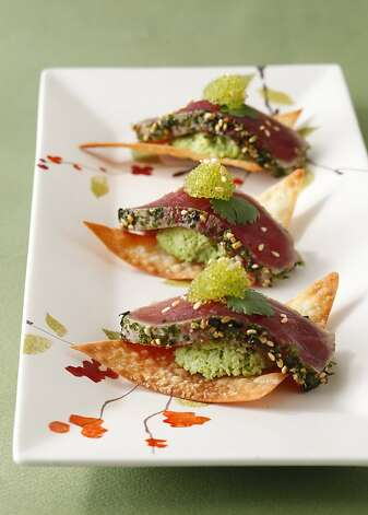 Ahi Tuna & Edamame on Won Ton Crisps Photo: Craig Lee, Special To The Chronicle