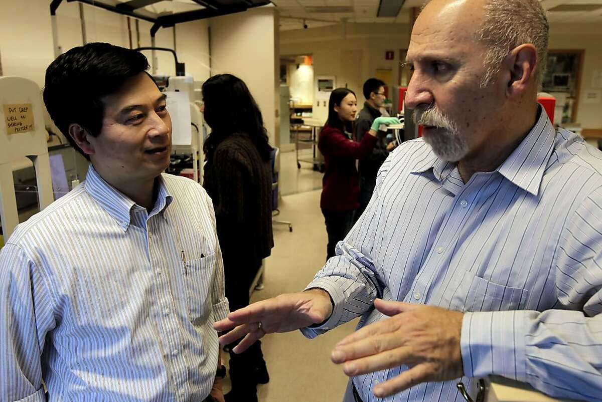 Dr. Pui-Yan Kwok, (left) and Neil Risch, the priciple investigator for the project and the director of the institute for human genetics at UCSF at the research lab where much of the data was collected, in San Francisco, Ca. on Friday Nov. 16, 2012. Dr. Kwok also worked on the project.Researchers at Kaiser Hospital and UCSF Medical Center have been working together on a project to do analysis on more than 100,000 Northern California members, have announced the first results of their work and found some pretty fascinating genetic results for everything from cholesterol and drug reaction to height and autism.