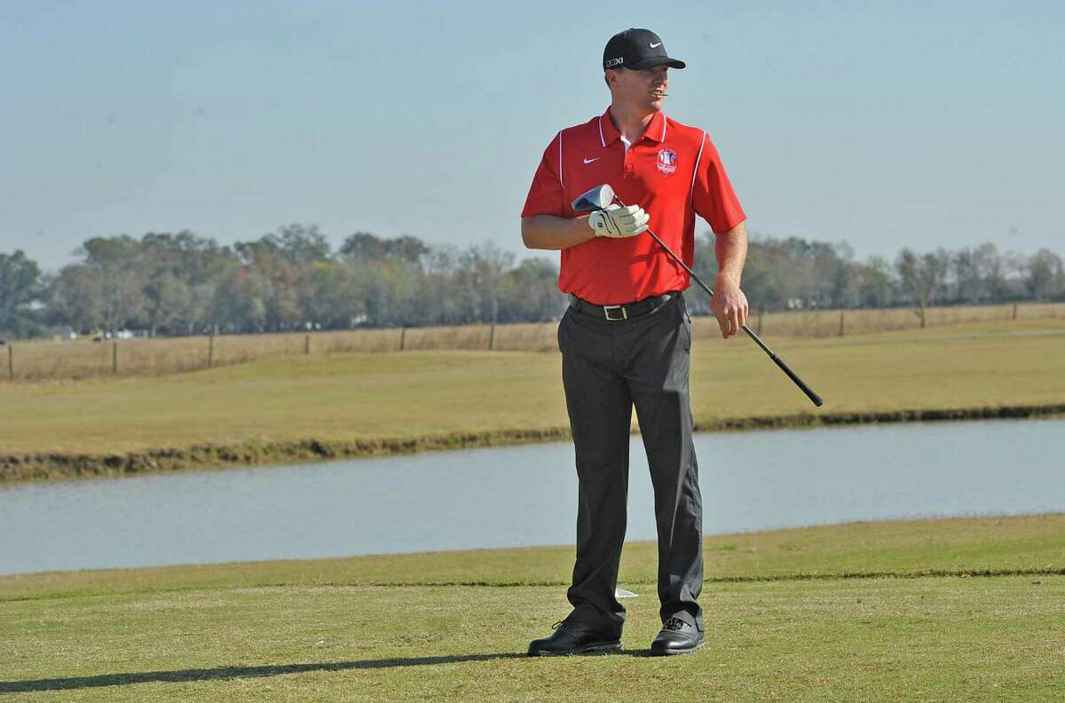 Jay Bruce looks over the fairway on number four before using his driver to head for the green. The Third Annual Jay Bruce Golf Benefit was held Monday morning, November 19, 2012, at Bayou Din Golf Club. Proceeds benefit The Arc of Greater Beaumont and the Life Skills Department at West Brook High School. Dave Ryan/The Enterprise