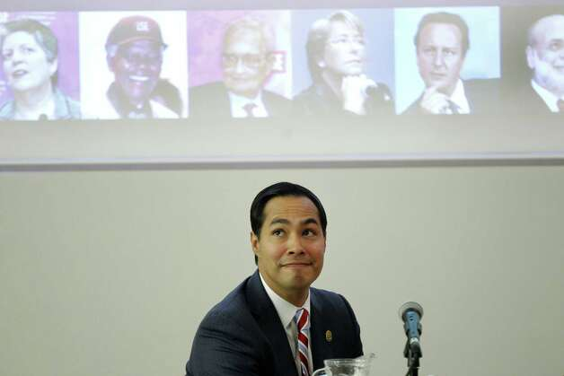 "Special for San Antonio Express-News. Mayor of San Antonio, Julian Castro looks at his surrounding before he speaks to the students on ""US Leadership in the 21st Century"" at the London School of Economics and Political Science in London, Monday, Nov. 19, 2012. Photo: Sang Tan, AP / AP"