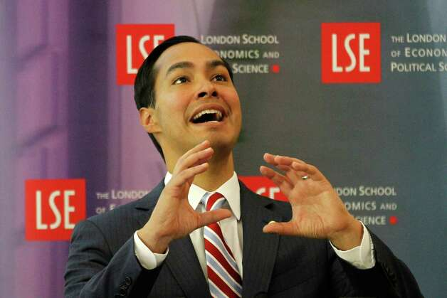 "Mayor of San Antonio, Julian Castro speaks to the students on ""US Leadership in the 21st Century"" at the London School of Economics and Political Science in London, Monday, Nov. 19, 2012. Photo: Sang Tan, AP / AP"
