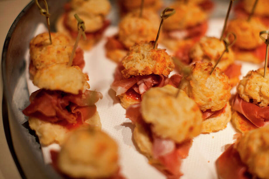 Mini cheddar biscuits with country ham and pepper jelly from chef Stephen Barber of Farmstead at Long Meadow Ranch during the Appellation Trail Tasting. Photo: Jason Henry, Special To The Chronicle / ONLINE_YES