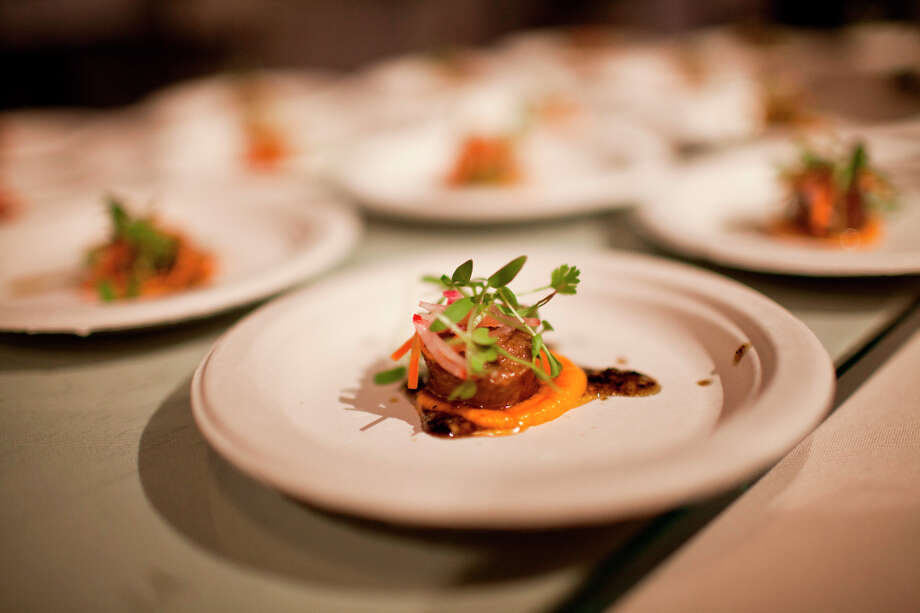 Lamb merguez with vadouvan butter, carrot puree, shaved roots, and micro cilantro from chef Andrew Budnyj of Farm at the Carneros Inn. Photo: Jason Henry, Special To The Chronicle / ONLINE_YES