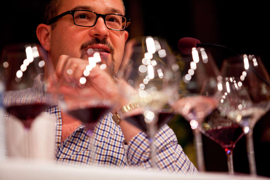 Chronicle wine critic Jon Bonne on a panel with other wine professionals during the Top Taster Blind Wine Tasting Competition. Photo: Jason Henry, Special To The Chronicle / ONLINE_YES