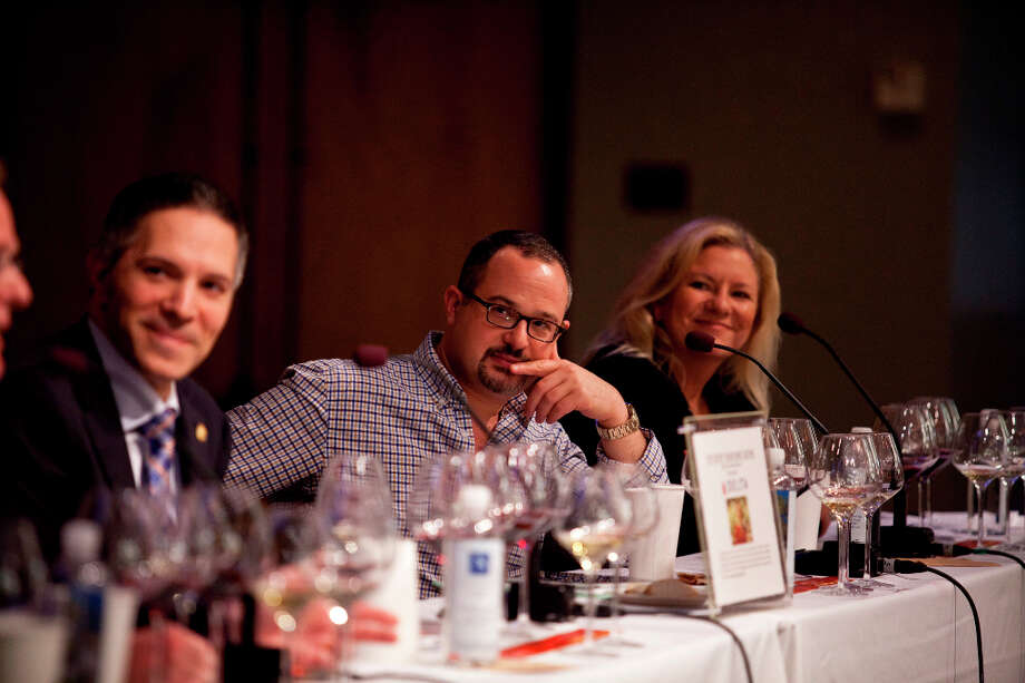 The panel during the Top Taster Blind Wine Tasting Competition. Photo: Jason Henry, Special To The Chronicle / ONLINE_YES