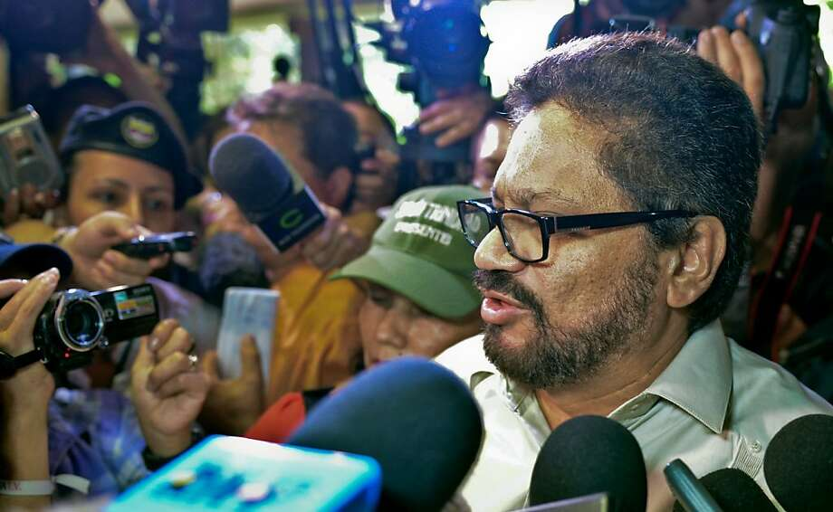 Ivan Marquez, lead negotiator for the Revolutionary Armed Forces of Colombia, speaks to the media in Havana, where the rebel group is in peace talks with the Colombian government. Photo: Adalberto Roque, AFP/Getty Images