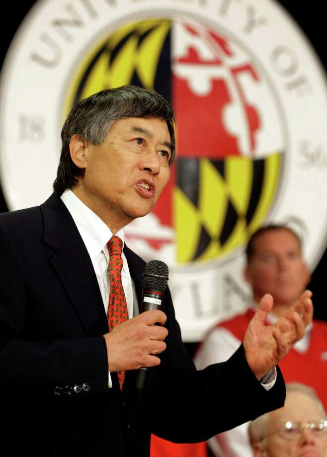 University of Maryland President Wallace Loh speaks at a news conference to announce Maryland's decision to move to the Big Ten NCAA athletic conference in College Park, Md., Monday, Nov. 19, 2012. Maryland is joining the Big Ten, leaving the Atlantic Coast Conference in a shocker of a move in the world of conference realignment. (AP Photo/Patrick Semansky) Photo: Patrick Semansky