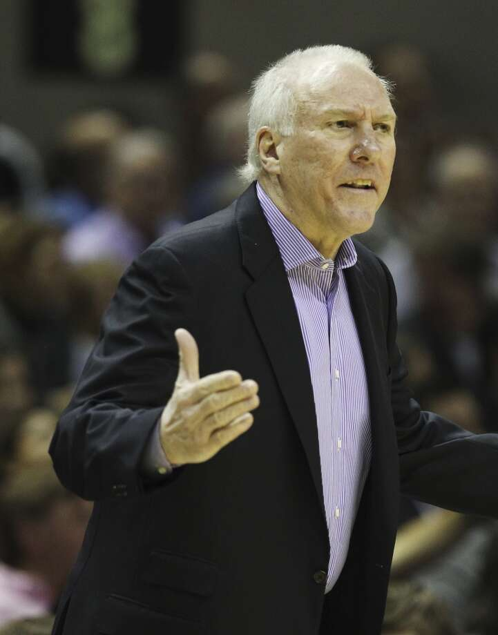 Spurs coach Gregg Popovich gets animated along the sidelines in the game against the Los Angeles Clippers in the first half of their game at the AT&T Center on Monday, Nov. 19, 2012. (Kin Man Hui / San Antonio Express-News)