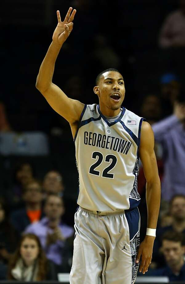 Otto Porter Jr. celebrates a three-pointer during Georgetown's 78-70 defeat of UCLA at the Barclays Center. Porter finished with 18 points and 11 rebounds. Photo: Elsa, Getty Images