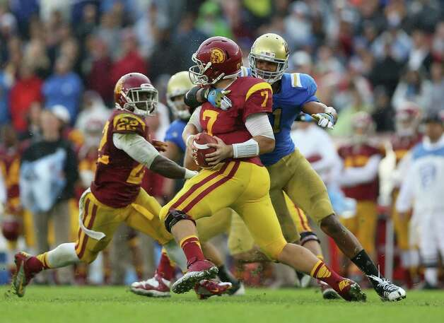 USC quarterback Matt Barkley. USC (7-4, 5-4 Pac-12) is coming off a loss to rival UCLA. USC plays at home Saturday against No. 1 Notre Dame.  Photo: Jeff Gross, Wires / 2012 Getty Images
