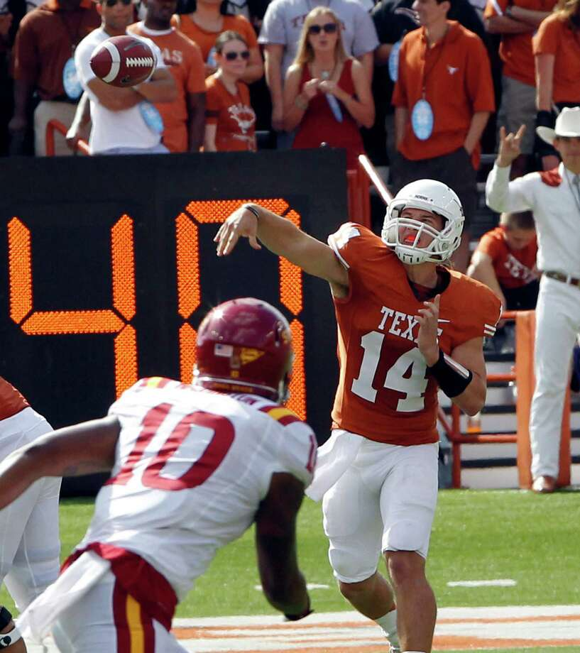 Texas quarterback David Ash.  Texas (8-2, 5-2 Big 12) was off last week and beat Iowa State the week before. Texas plays at home Thursday against TCU.  Photo: Michael Thomas, Wires / FR65778 AP
