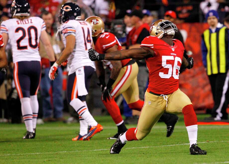 Linebacker Tavares Gooden (56) celebrates after a big play in the second quarter of the San Francisco 49ers game against the Chicago Bears at Candlestick Park in San Francisco, Calif., on Sunday November 19, 2012. Photo: Carlos Avila Gonzalez, The Chronicle / ONLINE_YES