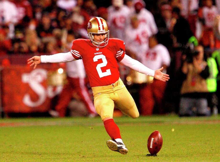 Kicker David Akers (2) kicks off in the first half of the San Francisco 49ers game against the Chicago Bears at Candlestick Park in San Francisco, Calif., on Monday November 19, 2012. Photo: Carlos Avila Gonzalez, The Chronicle / ONLINE_YES