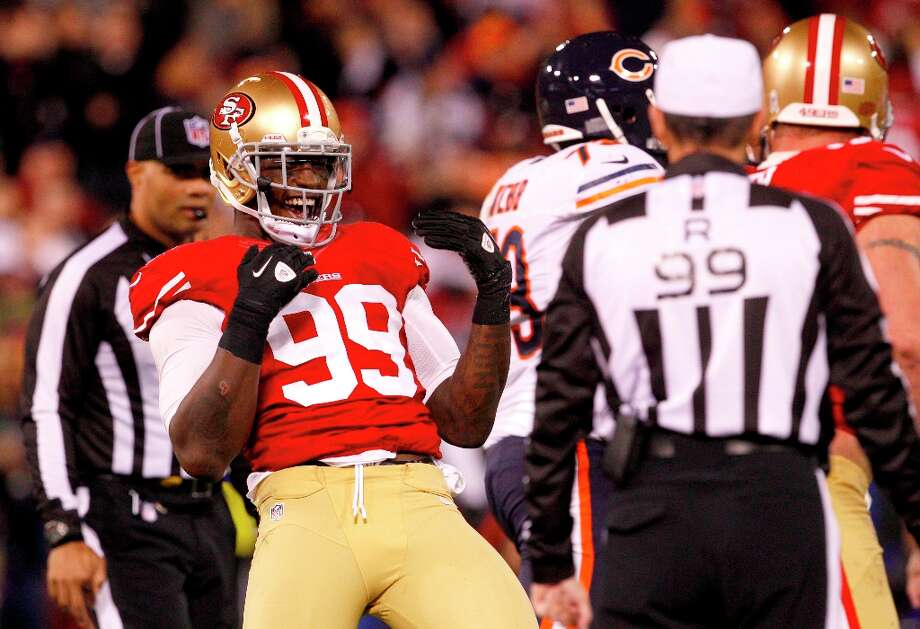 Linebacker Aldon Smith (99) celebrates after a tackle in the second half of the San Francisco 49ers game against the Chicago Bears at Candlestick Park in San Francisco, Calif., on Monday November 19, 2012. Photo: Carlos Avila Gonzalez, The Chronicle / ONLINE_YES