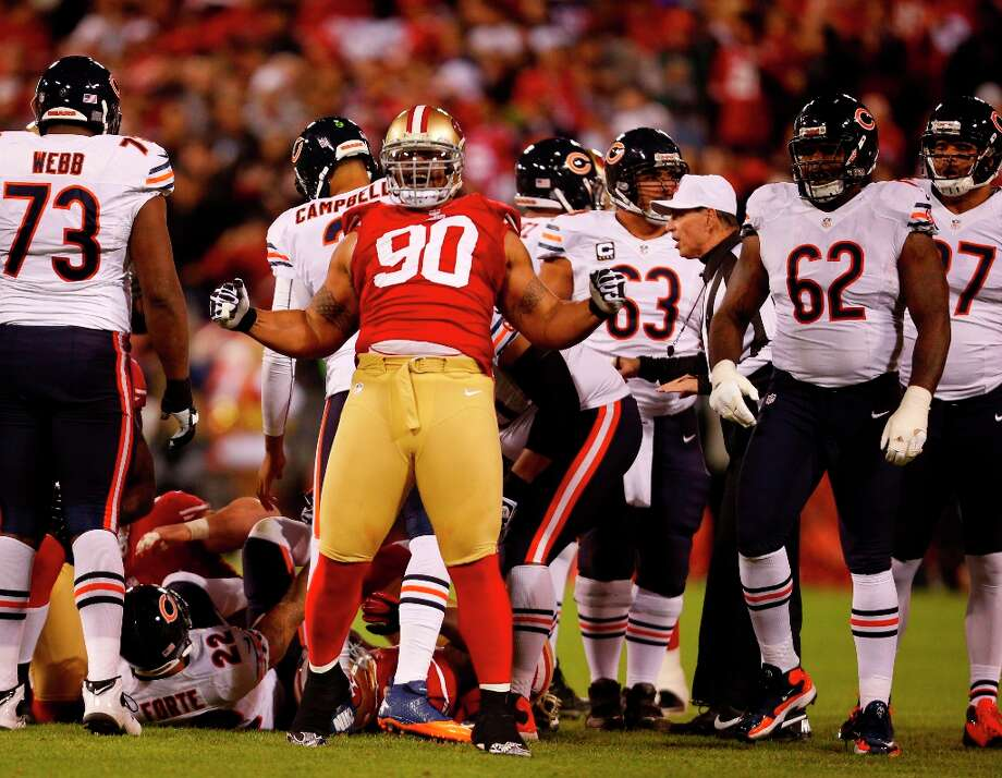 Defensive tackle Isaac Sopoaga (90) celebrates after a tackle in the second half of the San Francisco 49ers game against the Chicago Bears at Candlestick Park in San Francisco, Calif., on Monday November 19, 2012. Photo: Stephen Lam, Special To The Chronicle / ONLINE_YES