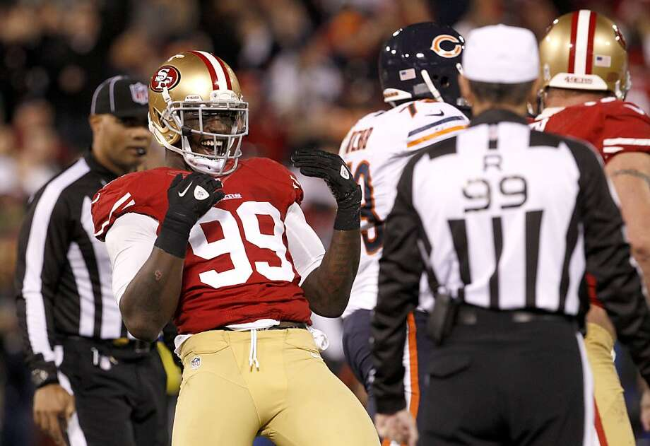 Linebacker Aldon Smith (99) celebrates after a sack in the second half of the San Francisco 49ers game against the Chicago Bears at Candlestick Park in San Francisco, Calif., on Sunday November 19, 2012. Photo: Carlos Avila Gonzalez, The Chronicle