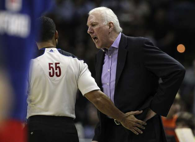 Spurs coach Gregg Popovich shows his disdain for a call to game official Bill Kennedy during the game against the Los Angeles Clippers in the second half of their game at the AT&T Center on Monday, Nov. 19, 2012. Clippers defeated the Spurs, 92-87. (Kin Man Hui / San Antonio Express-News)
