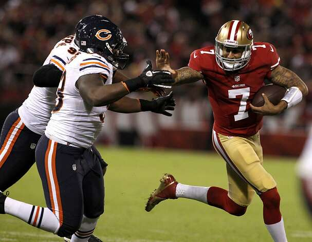 Quarterback Colin Kaepernick (7) in the fourth quarter of the San Francisco 49ers game against the Chicago Bears at Candlestick Park in San Francisco, Calif., on Sunday November 19, 2012. Photo: Carlos Avila Gonzalez, The Chronicle