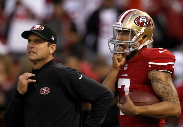 Quarterback Colin Kaepernick (7) and coach Jim Harbaugh during warm ups before the San Francisco 49ers game against the Chicago Bears at Candlestick Park in San Francisco, Calif., on Sunday November 19, 2012. Photo: Carlos Avila Gonzalez, The Chronicle