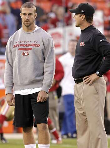 Quarterback Alex Smith (11) with coach Jim Harbaugh before the San Francisco 49ers game against the Chicago Bears at Candlestick Park in San Francisco, Calif., on Sunday November 19, 2012. Photo: Stephen Lam, Special To The Chronicle