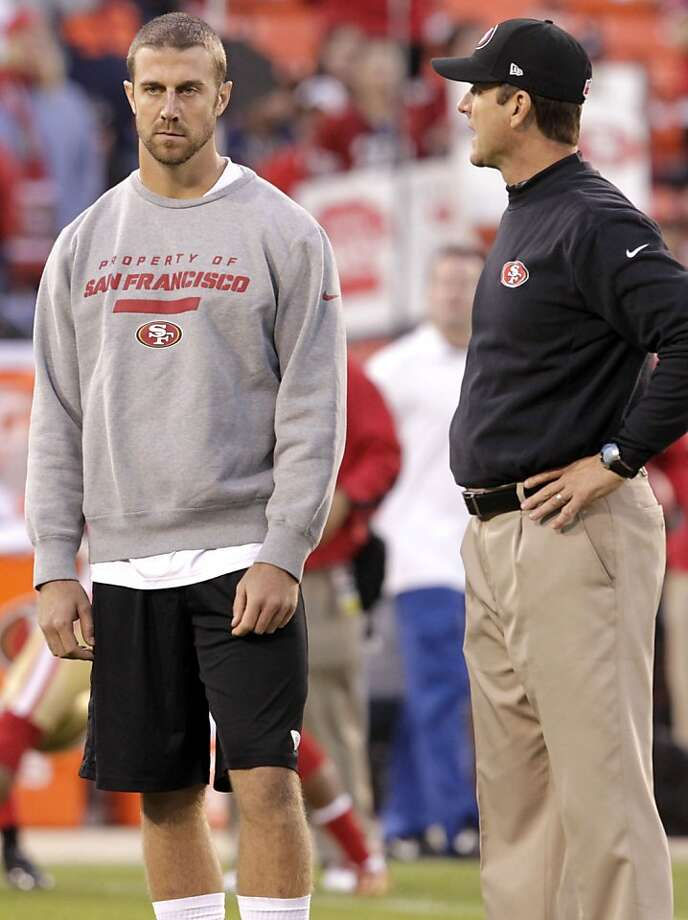 Quarterback Alex Smith (11) with coach Jim Harbaugh before the San Francisco 49ers game against the Chicago Bears at Candlestick Park in San Francisco, Calif., on Monday November 19, 2012. Photo: Stephen Lam, Special To The Chronicle