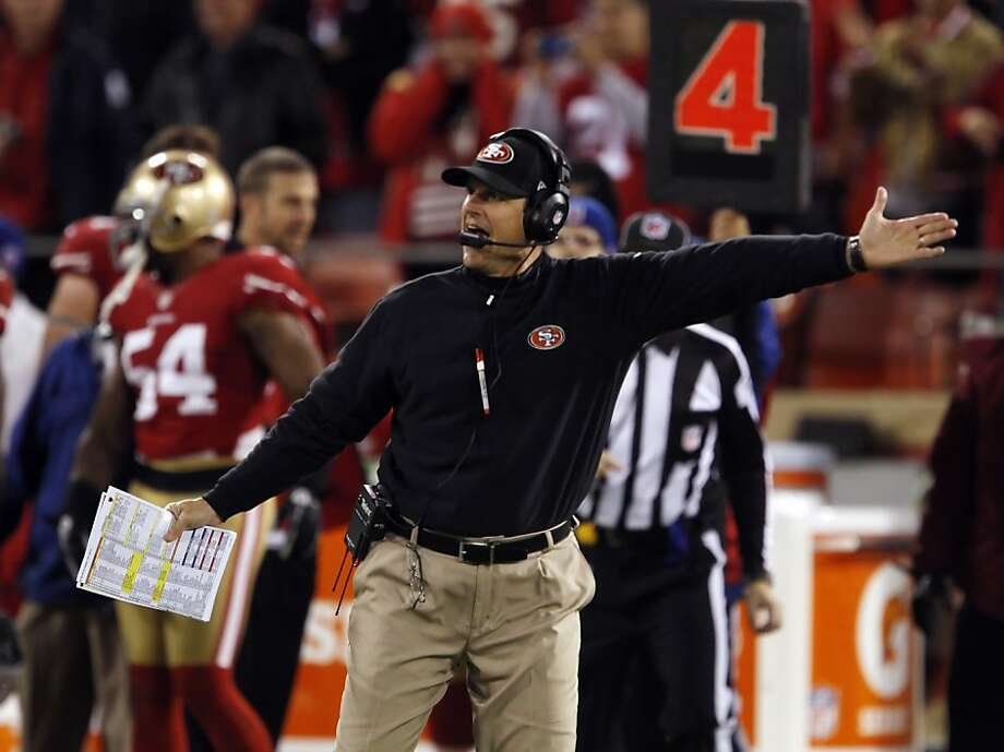 Jim Harbaugh reacts to a first down call in the fourth quarter. The San Francisco 49ers played the Chicago Bears at Candlestick Park in San Francisco, Calif., on Monday November 19, 2012, and won 32-7. Photo: Carlos Avila Gonzalez, The Chronicle
