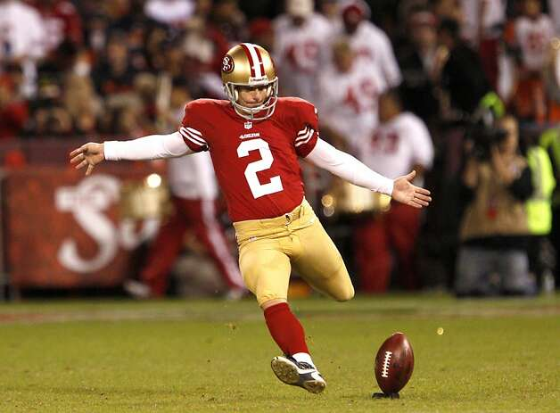 Kicker David Akers (2) kicks off in the first half of the San Francisco 49ers game against the Chicago Bears at Candlestick Park in San Francisco, Calif., on Sunday November 19, 2012. Photo: Carlos Avila Gonzalez, The Chronicle