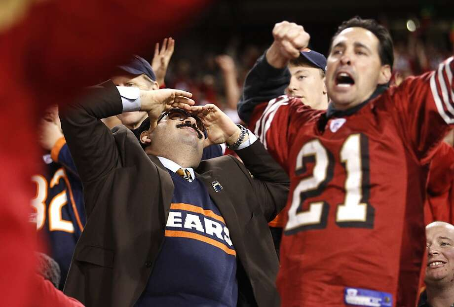 Bears fan Frank Babayah and Andrew Kranitz react to a 49ers gain in the fourth quarter of the San Francisco 49ers game against the Chicago Bears at Candlestick Park in San Francisco, Calif., on Sunday November 19, 2012. Photo: Stephen Lam, Special To The Chronicle